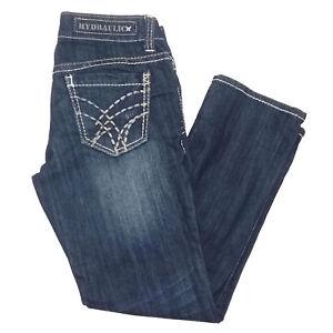 d9bd4ba5807 Hydraulic Womens Jeans Size 6 Blue Capris Mid Rise Dark Wash Denim ...