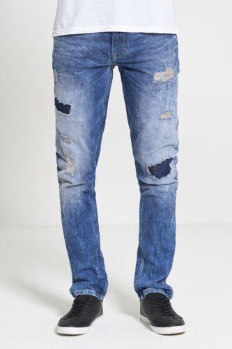 prezzo consigliato £ 49.99 CURZON Jeans Slim Stretch in Blu Patch riparati Da Uomo DML