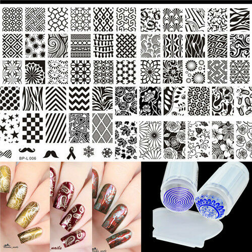 Multi Patterns Nail Art Stamping Plates Kit With Clear Stamper Set Born Pretty Ebay