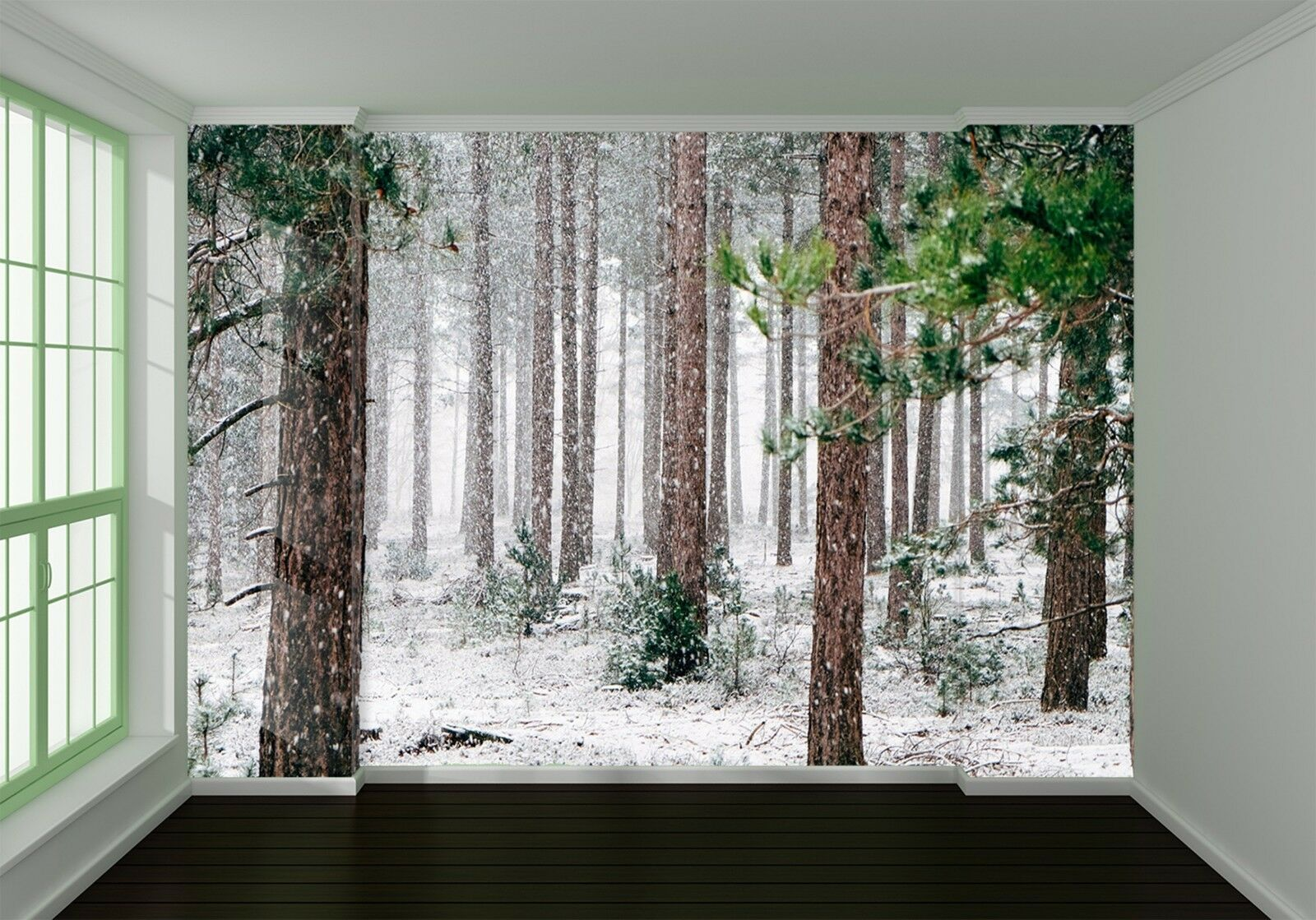 3D snowing Grün forest Wall Paper Print Decal Wall Deco Indoor wall Mural