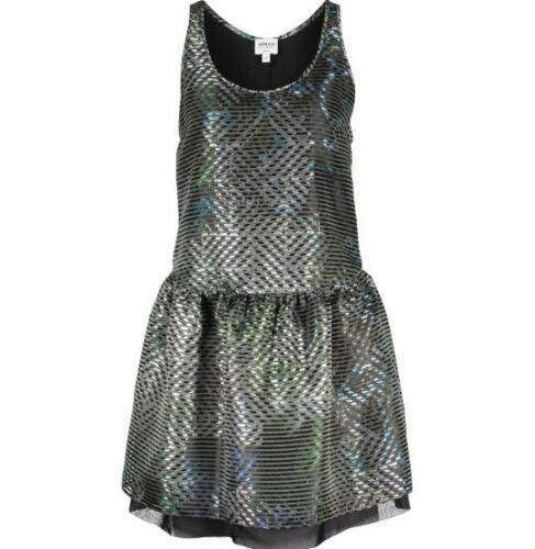 Striped Uk12 £770 Eu44 Us8 Dress Silver Rrp Giorgio Collezioni Bnwt Armani Silk Nnwmyv80OP