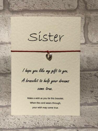 Cadena De Tarjeta De Pulsera deseo encanto Hermana Cumpleaños Celebración Regalo inspirador