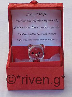 MY WIFE GIFT@Glass Teddy Bear@SINGLE RED ROSE@LOVE Verse@ANNIVERSARY KEEPSAKE