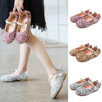 Kids Girls Pearls Lace Mary Janes Children Bridesmaids Wedding Flats Party Shoes
