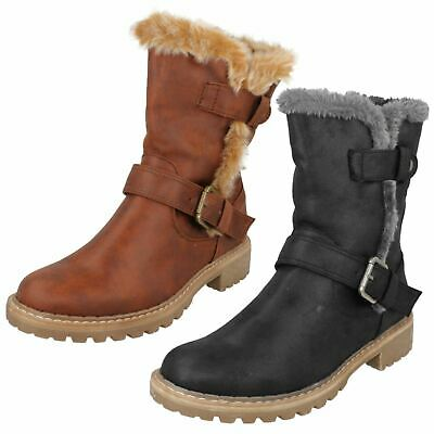 LADIES DOWN TO EARTH F50866 BLACK BROWN ZIP BUCKLE WARM WINTER FAUX FUR BOOTS