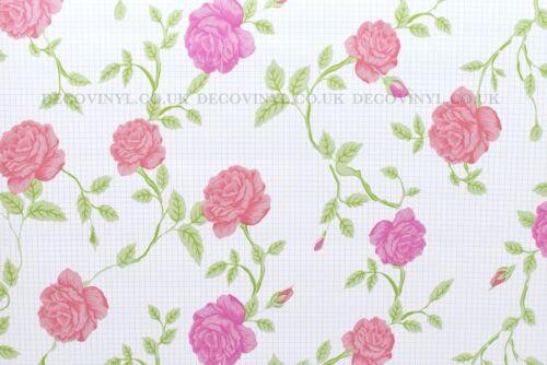 Vintage Floral STICKY DOS PLASTIQUE PVC Papier peint Shabby Chic Français Pays Rose