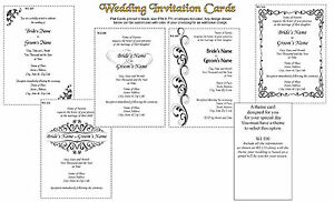 50 WEDDING INVITATIONS card Printed in Black, size 5x7 with Envelope