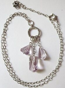 AAA Brazil Pink Amethyst Nugget Sterling Silver Necklace Handmade JH Design