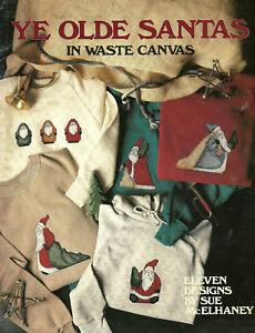 Ye-Olde-Santas-Christmas-Cross-Stitch-Patterns-Waste-Canvas-Holiday-Santa