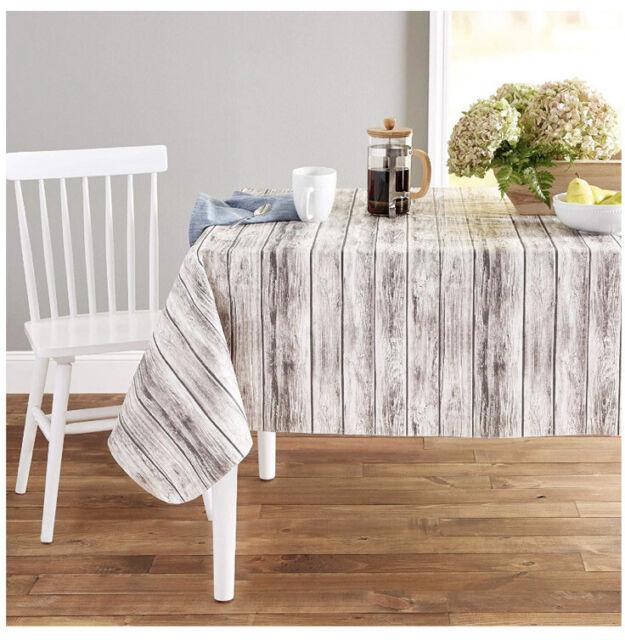 """52/"""" x 70/"""" Rustic Shiplap Wood Pattern 100/% PEVA NIP Woodgrain Vinyl Tablecloth"""