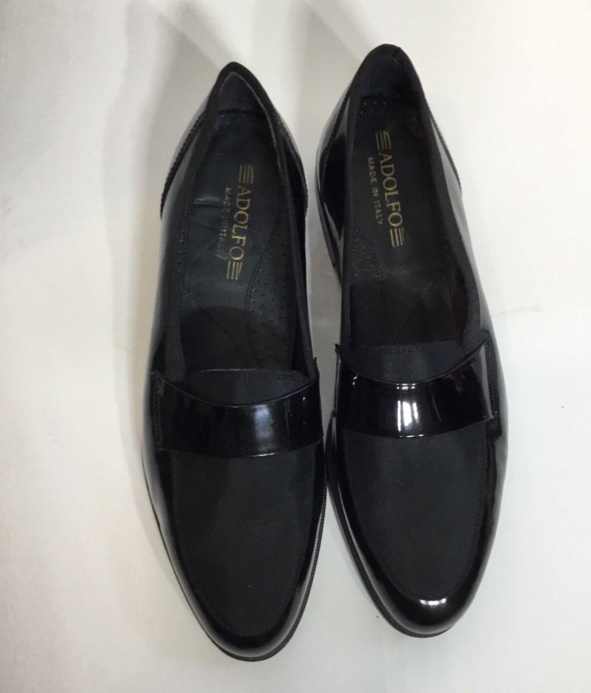 vendita online Uomo Uomo Uomo Aldofo Patent Leather nero Dress Tuxedo scarpe Dimensione 9 1 2  consegna e reso gratuiti