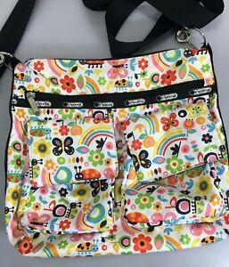 LeSportSac-Ladybugs-Flowers-Rainbows-Mod-Cross-Body-Shoulder-Bag-Handbag
