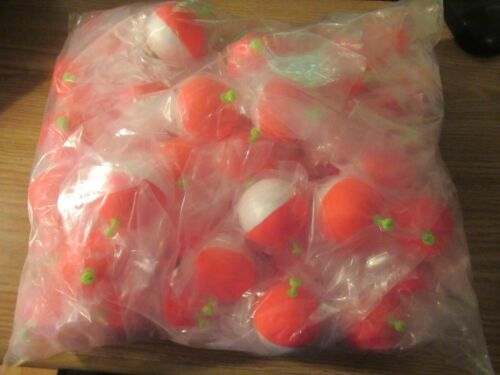 """48 2 inch /"""" FISHING BOBBERS Round Weighted Floats Red White Foam SNAP ON FLOAT"""