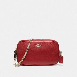 99a5b6b673c Details about New Authentic COACH F72490 Crossbody Pouch in Genuine Pebble  Leather True Red