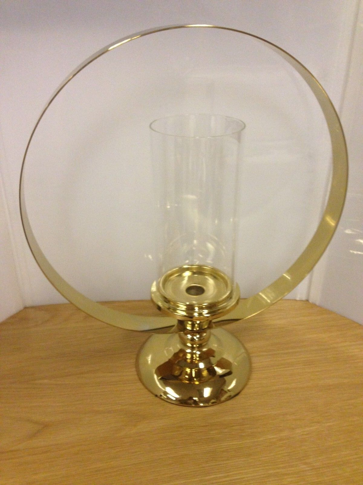 Large golden Ring Candle Holder with Glass