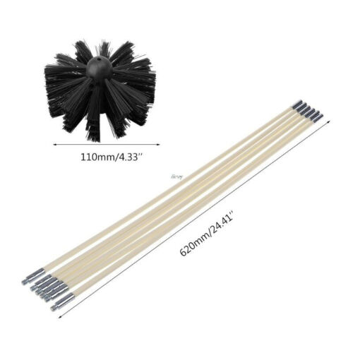 Nylon Bendable Chimney Cleaning Brush Fireplace Rotary Cleaner Sweeping Tool Set