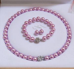 8mm-10mm-12mm-Lavender-South-Sea-Shell-Pearl-Necklace-Bracelet-Earrings-AAA