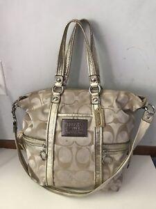coach poppy spotlight gold metallic xl tote bag purse signature rh ebay com