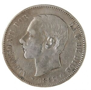 Raw-1882-Spain-5-Pesetas-Uncertified-Ungraded-Spanish-Silver-Coin