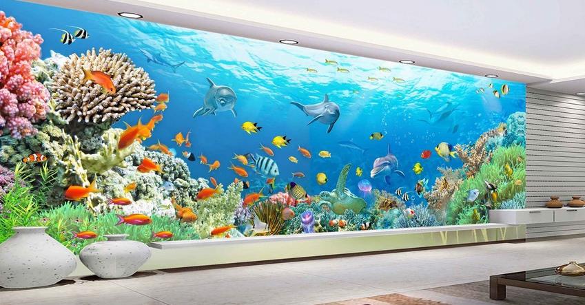 3D Korallen Meer Delphin 85 Tapete Wandgemälde Tapete Tapeten Bild Familie DE