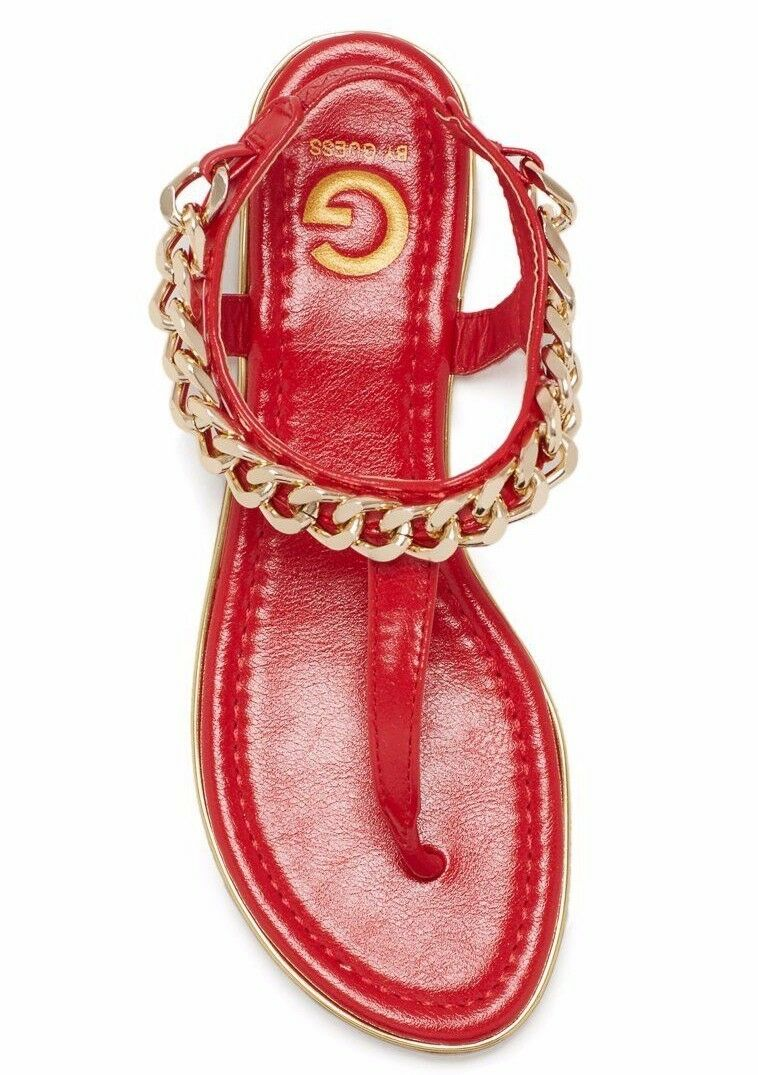 AMPUTEE - Red RIGHT FOOT GUESS Ava Red - Gold Chain-Trim T-Strap Thong Leather Sandal 2cc5aa