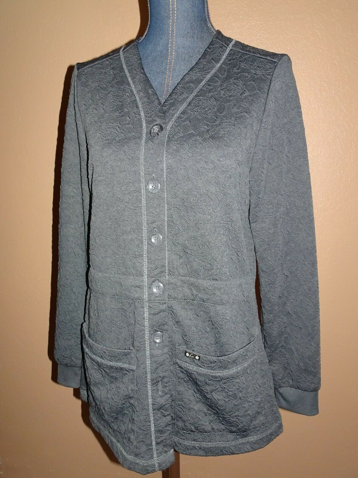 KOI Claire Charcoal Gray Button Front Knit Scrub … - image 2