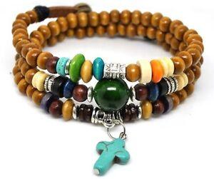 Image Is Loading 4030148 Wood Bead Cross Wrap Bracelet Religious