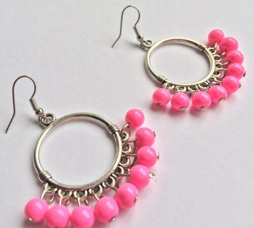 BohoCoho Quirky Boho Gypsy Festival Silver /& Pink hoop dangle earrings