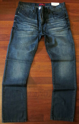 Guess Slim Straight Leg Jeans Mens Size 36 X 30 Vintage Distressed Dark Wash NEW