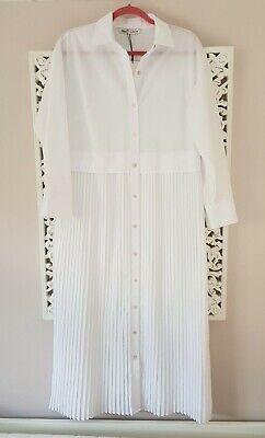 Zara White Cotton Blend Button Down Pleated Midi Shirt Dress, UK Size S New | eBay