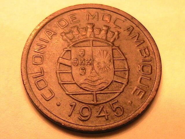 1945 MOZAMBIQUE 50 Centavos Ch EF Portuguese Colonial Fifty Centavos Coin