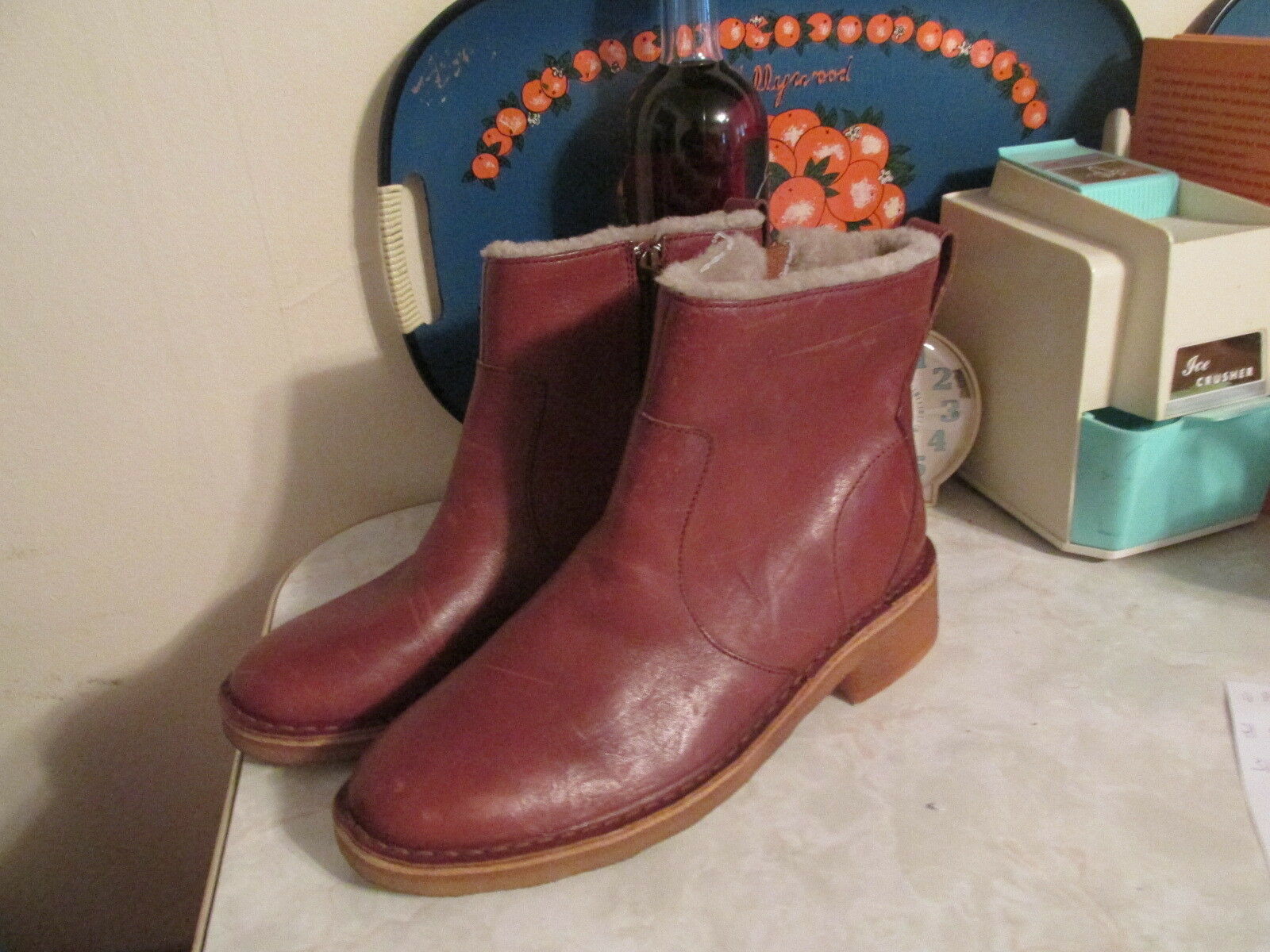 CLARKS MARU MAY COGNAC LEATHER CREPE SOLE WOOL LINED BOOTS WOMEN'S US 9