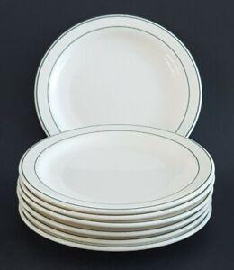 Arcopal-France-Restaurant-Diner-Plates-6-034-White-Green-Trim-Set-of-Seven-7