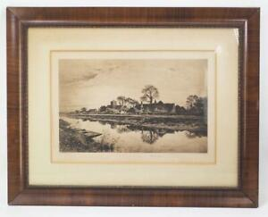 Antique Parting Days A. Brunet Debaines Etching Print Framed