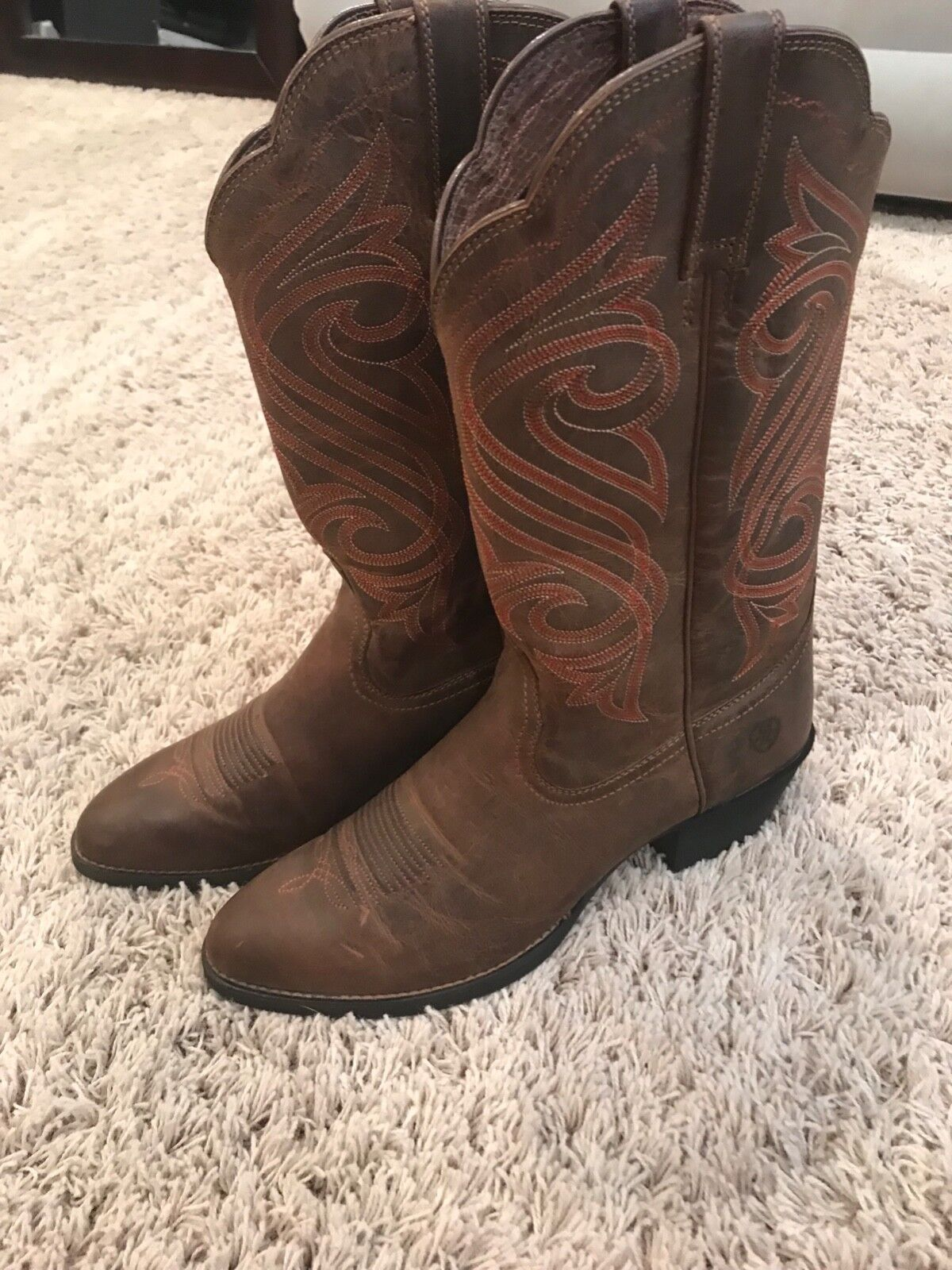 Ariat donna Round Up R Toe-Western dark Toffee Cowboy, stivali Dimensione 11