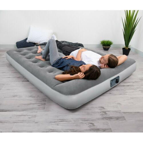 """Flocked Airbed Camping Full Size Bestway 12/"""" Air Mattress with Built in AC Pump"""