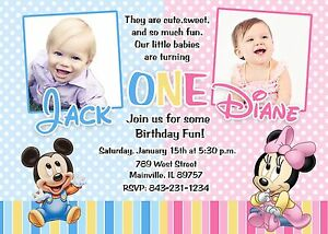 Details About First Birthday Mickey Minnie Twins Baby Party Invitation