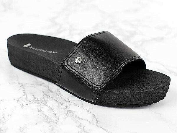 Revitalign Breezy diapositiva Comfort Sandalia De Cuña Negro - 9