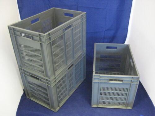 3 nouveaux retrait Ventilé Gris stockage caisse conteneur 75L