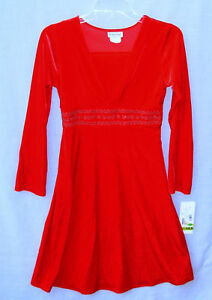 New-RARE-TOO-Girls-size-14-5-Red-Velvet-Party-Holiday-Dress-long-sleeved-14-1-2