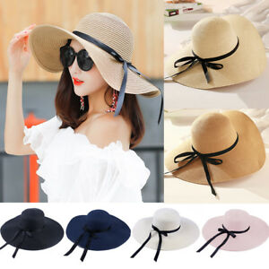 Women-Ladies-Summer-Big-Wide-Brim-Straw-Hat-Floppy-Derby-Beach-Sun-Foldable-Cap