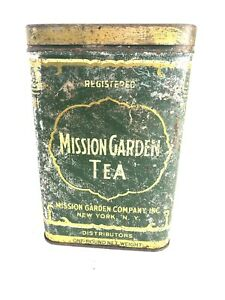 Vintage Mission Garden Tea Tin, Ceylon Java India, One Pound Net Weight, Dragon
