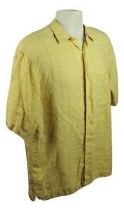 Donald-J-Trump-Mens-100-Linen-Medium-Short-Sleeve-Yellow-Button-Front-shirt