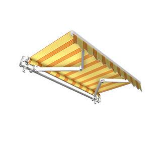 Markise Sonnenschutz Gelenkarmmarkise Handkurbel 250x150cm Gelb Orange B-Ware