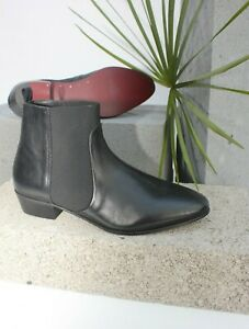 H-By-Hudson-Black-Boots-Leather-Chelsea-Cuban-Cowboy-Military-Ankle-8-42-New