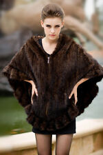 100% Real Knitted Mink Fur Poncho Hooded Stole Cape Scarf Shawl fur Coat Classic