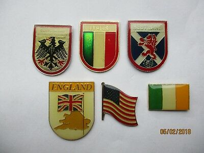 ENGLAND GERMANY IRELAND ITALY USA AMERICA COA FLAG CREST GB PIN BADGE JOB LOT X6
