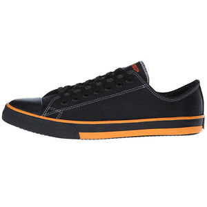Mens-Harley-Davidson-Roarke-Fashion-Sneaker-Blk-Orange-Leather-Canvas-All-SZ-NEW