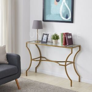 Clear-Glass-Side-Table-Console-Bronze-Finish-Frame-and-Legs-Modern