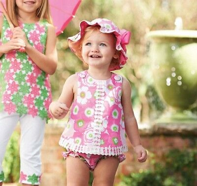 NWT Mud Pie Baby Lily Pad Pinafore and Bloomers Set 12-18m